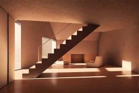 Просторная бетонная лестница