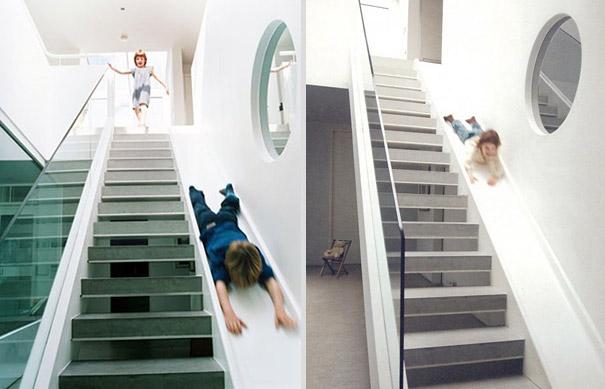 Бетонная лестница и горка в одном проекте